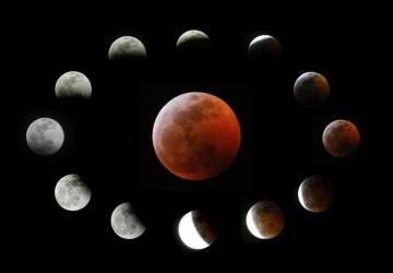 A foto combinada mostra a Lua completamente eclipsada, no centro, e as diferentes fases do eclipse lunar total conforme visto em Los Angeles, Califórnia. — Foto: Associated Press